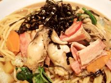牡蠣とベーコンと野菜の正油味