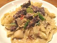 牛ハラミと色々春野菜のアーリオ・オーリオ、純生リッチャレッレ